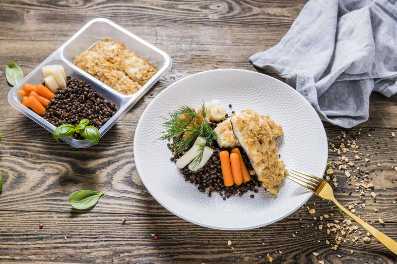 """Dorsz z czarną soczewicą i warzywami """"FIT"""" (350 g)"""